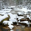 Winter at mountain river. Big stones in stream covered with fresh powder snow and lazy water with low level. Reflections of forest in water level. — Stock Photo #63798671