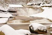 Winter at mountain river. Big stones in stream covered with fresh powder snow and lazy water with low level. Reflections of forest in water level. — Stock Photo