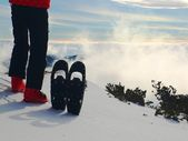 Skier in red winter jacket with  fun snowshoes stay in snow in mountains. — Stockfoto