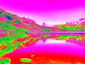 Lake level between sharp mountains in amazing thermography. — Stock Photo