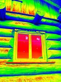 Detail of beams in cabin wall. Traditional construction of wooden house in  thermography scan. — Stock Photo