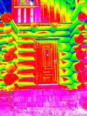 Detail of doors in beams wall in cabin. Traditional construction of wooden house in  thermography scan. — Stock Photo