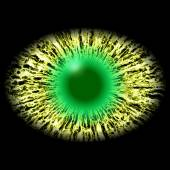 Isolated eye. Monster eye with striped iris and dark elliptic pupil with green retina. — Foto de Stock