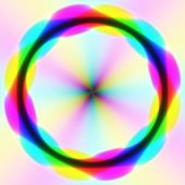 Rainbow colorful streams in gentle blurred disc. Abstract illustration of circles on colorful background. Turning out weathervane. — Stock Photo