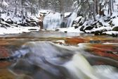 Watercolor paint. Winter view over snowy boulders to cascade of waterfall. Wavy water level.. Stream in deep freeze. — Stock Photo