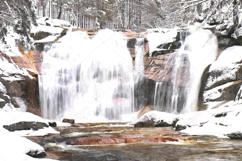 Peinture aquarelle. Hiver vue sur rochers enneigés en cascade de ...