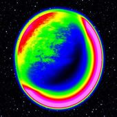Fantastic infrared scan of planet with dusty ring in far universe, abstract — Stock Photo