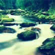 Mountain river with blurred waves of clear water. White curves in rapids between mossy boulders and bubbles create trails. — Stock Photo #75199163