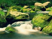 Big boulders covered by fresh green moss in foamy water of mountain river. Light blurred cold water with reflections, white whirlpools in rapids. — Stock Photo