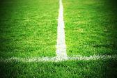 Korsa av målade vita linjer på naturliga fotboll gräs. Grönt konstgräs konsistens. — Stockfoto
