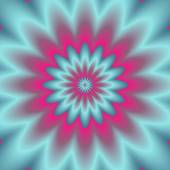 Neon explosion.  Digital abstract image with a psychedelic flower design in neon blue, green, and pink. — Stock Photo