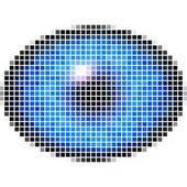 Pixel maping of elliptic eye with blue iris, light reflection in eye — Stock Photo