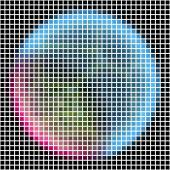 Pixel maping of shinning planet with silver blue pink atmosphere. Planet somewhere in dark space — Stock Photo