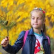 Young beautiful girl holding a branch of a christmas tree — Stock Photo #57362483