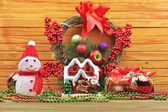 Christmas toy balls with snowman — Foto de Stock