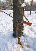 Hunting guns in the winter forest. Winter hunting. — Stockfoto