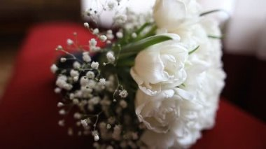 Nice wedding bouquet of white tulips on red branch — Stock Video