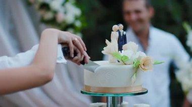 Bride and groom cut wedding cake — Stock Video