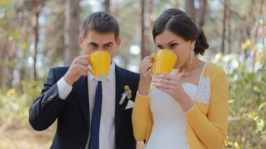 Young people drink tea outdoor. Wedding photo session. — Stockvideo
