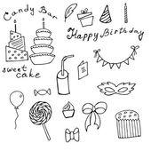 Happy Birthday doodle set. — Stock Vector
