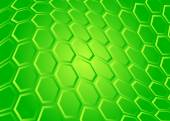 Tech background of transparent hexagon on green screen — Stock Vector