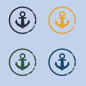Anchor logo in grunge style — Stock Vector