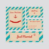 Set of wedding cards — Vector de stock