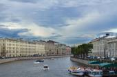 River channel with boats in Saint-Petersburg. Summer — Stock Photo