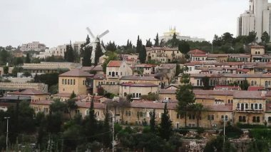 Panorama of West Jerusalem Yemin Moshe neighborhood . — Stock Video