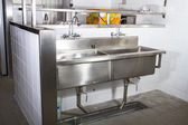 Profi-küche, profil counter aus stahl — Stockfoto