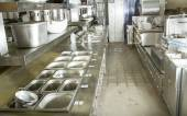 Professional kitchen, view counter in steel — Stock Photo