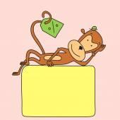 Lying monkey — Vecteur