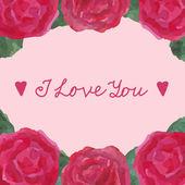 Carte avec roses — Vecteur