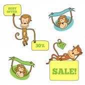 Monkey in different poses with banners — Stock Vector