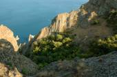 Panoramic Crimean landscape - Karadag volcanic mountain range - Ukrainian natural reserve on a Black Sea shore. — Stock fotografie