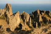 Majestic Karadag - volcanic mountain range in Eastern Crimea, on a Black Sea shore. — Stock Photo