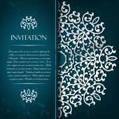 Elegant decorative aquamarine   invitation card with gold orname — Stock Vector