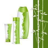 Natural eco-cosmetics. Set for body care in a green and white pa — 图库矢量图片