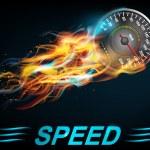 Speedometer in bright fire — Stock Vector #75722749