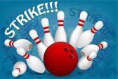 Ball breaks white skittles — Stock Vector