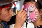 Face painting leopard — Stock Photo