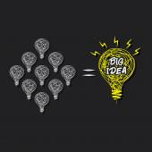Small idea make big idea concept — Stock Vector