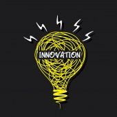 Creative innovation word on sketch bulb — Vecteur