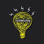 Creative 'technology' word concept on sketch bulb — Stock Vector