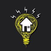 Creative home icon on sketch bulb — Stock Vector
