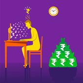 On-line earning rupee — Stock Vector