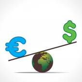 Earth with dollar sign and euro — Wektor stockowy