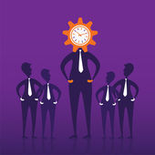 Team with clock head men for work — Stock Vector