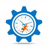 Businessmen run in big gear clock design — Stok Vektör