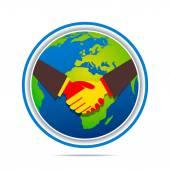 Global relation or handshake around earth — Stock Vector